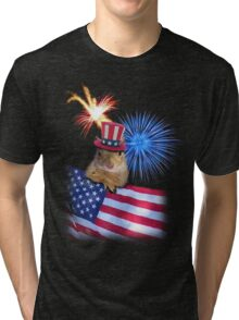 Patriotic Squirrel Tri-blend T-Shirt