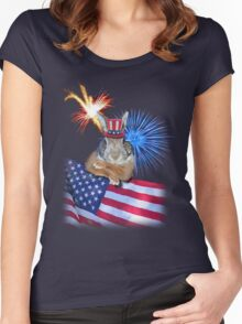 Patriotic Bunny Rabbit Women's Fitted Scoop T-Shirt