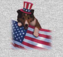 Patriotic Sheltie Puppy Kids Clothes