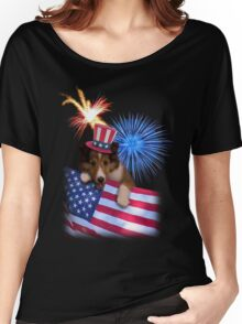 Patriotic Sheltie Puppy Women's Relaxed Fit T-Shirt
