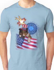 Patriotic Sheltie Puppy Unisex T-Shirt