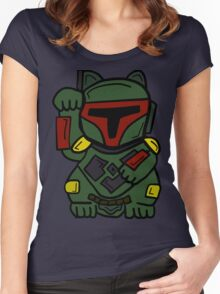 LUCKY BOBA CAT Women's Fitted Scoop T-Shirt