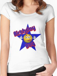 Cute Birthday Boy Smiley Face Women's Fitted Scoop T-Shirt