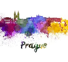 Prague skyline in watercolor by paulrommer