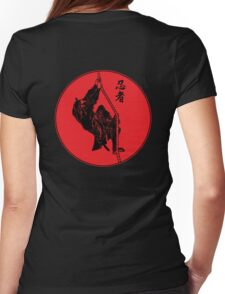 Ninja Climbing A Rope - Large Womens Fitted T-Shirt