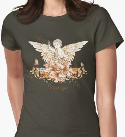 Vintage Floral Cherub Womens Fitted T-Shirt