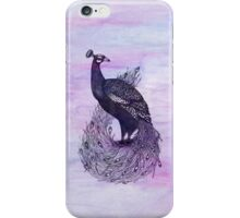 Long Tailed Peacock with watercolour background iPhone Case/Skin