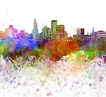 Providence skyline in watercolor background by paulrommer