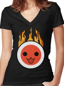 taiko fire Women's Fitted V-Neck T-Shirt