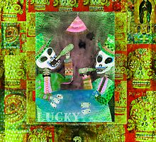 The Gamblers -  Day of the Dead  Inspired Folk Art by dayofthedeadart