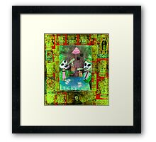 The Gamblers -  Day of the Dead  Inspired Folk Art Framed Print