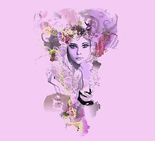 Psychedelic retro girl pink by Patruschka
