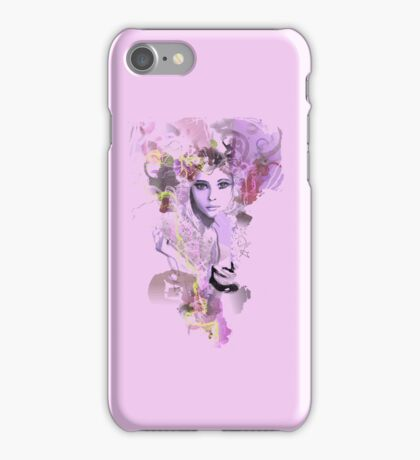 Psychedelic retro girl pink iPhone Case/Skin