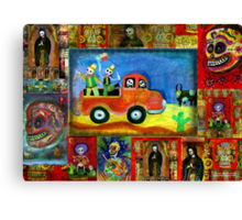 Wild Day of the Dead Texas Cowboys out partying the night away Canvas Print