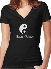 tai chi relax harder Women's Fitted V-Neck T-Shirt