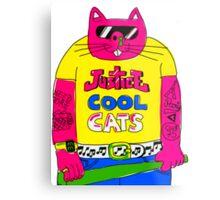 Cool Cats - Yellow / Justice Cat Metal Print