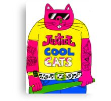 Cool Cats - Yellow / Justice Cat Canvas Print