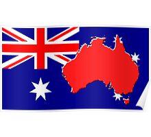 The map, flag of Australia Poster