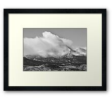 Colorado Twin Peaks Winter Weather View BW Framed Print
