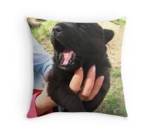 The big black puppy in a hand Throw Pillow