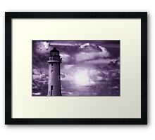 Lighthouse Collaboration in Purple Framed Print