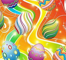 Happy Easter Eggs Ornamental Design by BluedarkArt