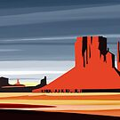 Arizona Desert Landscape Sunset Illustration by SFDesignstudio