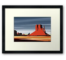 Arizona Desert Landscape Sunset Illustration Framed Print