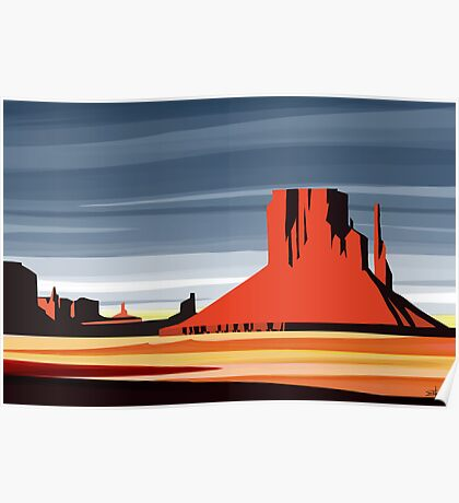 Arizona Desert Landscape Sunset Illustration Poster