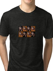 Rottweiler Puppy Isolated On Black and Tan Tile Pattern Tri-blend T-Shirt
