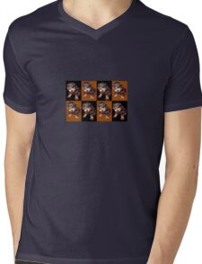 Rottweiler Puppy Isolated On Black and Tan Tile Pattern Mens V-Neck T-Shirt