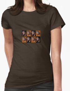 Rottweiler Puppy Isolated On Black and Tan Tile Pattern Womens Fitted T-Shirt