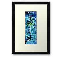 Held Gently in Blue - Abstract Acrylic Canvas Painting Framed Print