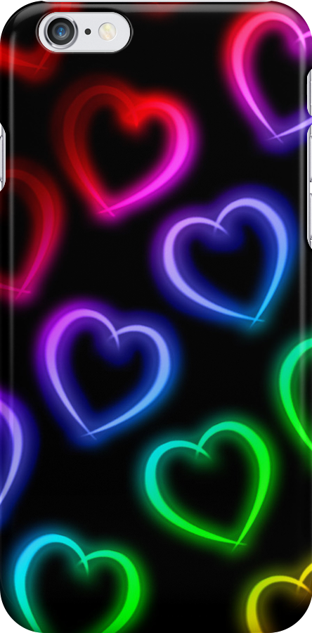 Rainbow Neon Hearts by TomokoHoshii