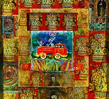 Fireman with spotted fire dog in a fire truck - Pop Art - DAY OF THE DEAD by dayofthedeadart