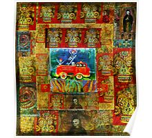 Fireman with spotted fire dog in a fire truck - Pop Art - DAY OF THE DEAD Poster