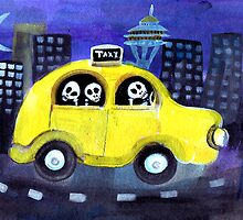 Fun Loving Day of the Dead Skeletons riding around in a yellow taxi  by dayofthedeadart