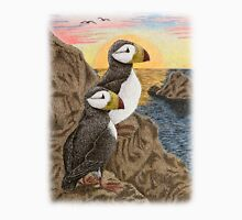 Puffins on Sunset Cliff Unisex T-Shirt