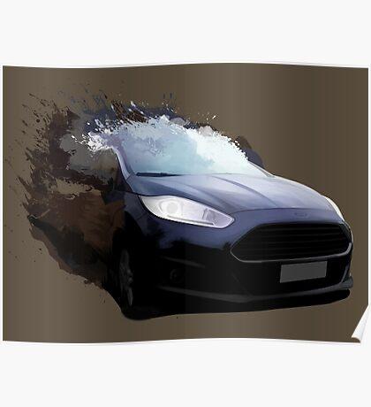 Ford Fiesta Splatter Poster