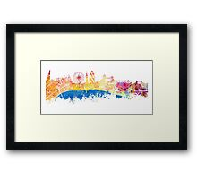 London skyline map city London Eye Framed Print