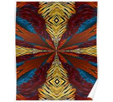 Abstract Blue Red Orange And Yellow Design Poster