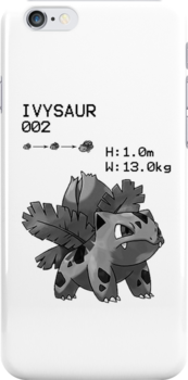 B&W Ivysaur iPhone / iPod Case by Aaron Campbell