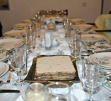 Table set for a Jewish Festive meal on Passover  by PhotoStock-Isra