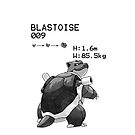 B&W Blastoise iPhone / iPod Case by Aaron Campbell