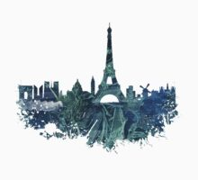 Paris skyline blue street Kids Tee