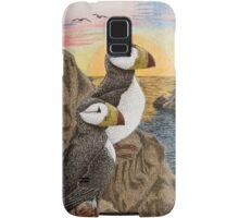 Puffins on Sunset Cliff Samsung Galaxy Case/Skin