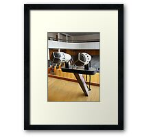 Pair of microphones in the big hall Framed Print