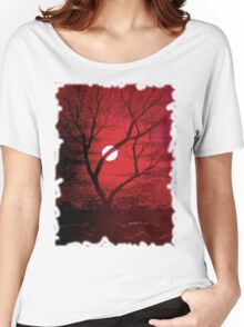 Moon thru trees in a red sky, tee shirt Women's Relaxed Fit T-Shirt