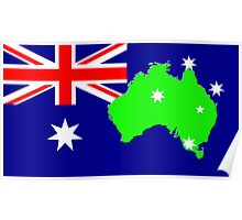 map of Australia on its flag Poster