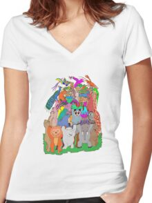 El Castell de Fauna Women's Fitted V-Neck T-Shirt